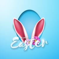 Vector Illustration of Happy Easter Holiday with Rabbit Ears in Egg Silhouette