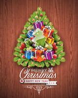 Merry Christmas and Happy New Year typographic design with holiday elements on wood texture background.