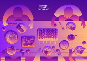 Parties And Gatherings Top View Vector