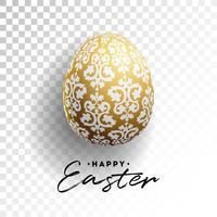 Ilustración vectorial de felices fiestas de Pascua con huevo pintado sobre fondo transparente