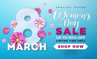 Diseño de la venta del día de las mujeres con la flor colorida hermosa en fondo azul
