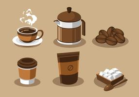 Café éléments Clipart Set Vector