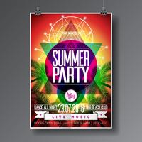 Vector Summer Beach Party Flyer Design con elementos tipográficos en la palma abstracta