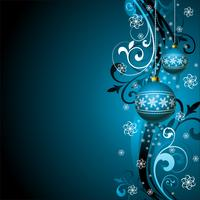 Vector Christmas illustration with blue glass ball and snowflakes