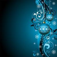 Vector a ilustração de Natal com bola de vidro azul e flocos de neve