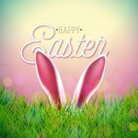 Vector illustration de joyeuses fêtes de Pâques avec des oreilles de lapin sur fond d'herbe nature. Célébration internationale du printemps