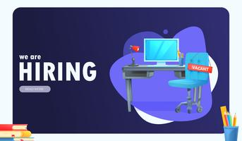 """We are hiring"" banner with office workspace"