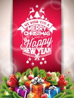 Vector Merry Christmas Happy Holidays illustration with typographic design