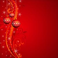 Vector Christmas illustration with red glass ball