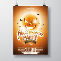 Vector Halloween Party Flyer Design con elementos tipográficos y luna de calabaza