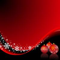 Illustrazione di Natale con palla rossa e fiocchi di neve