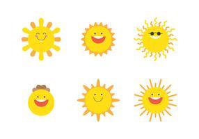 conjunto de emojis de sol