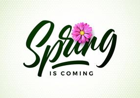 Vector spring is coming illustration with beautiful pink flower on white background