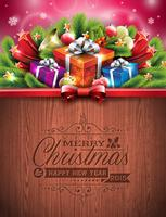 Engraved Merry Christmas and Happy New Year typographic design