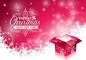 Vector Christmas illustration with typographic design and shiny magic gift box