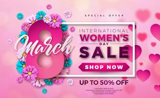 Womens Day Sale Design with Beautiful Colorful Flower on Pink Background