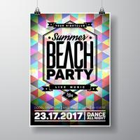 Vector Summer Beach Party Flyer Design con elementos tipográficos y espacio de copia