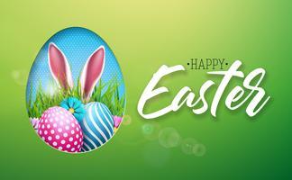 Vektor illustration av lycklig påskferie med målade ägg, kaninöron och blomma på glänsande grön bakgrund. International Spring Celebration Design med typografi för hälsningskort, festinbjudan eller Promo Banner.