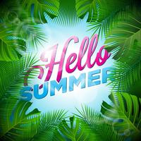 Vector Hello Summer Holiday typographic illustration with tropical plants and sunlight on light blue background.