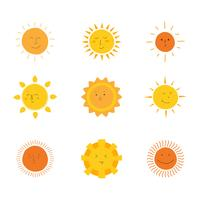 Sun Clipart Set Vector Colecção