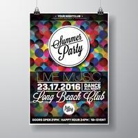 Vector zomer Beach Party Flyer ontwerpen met typografische elementen