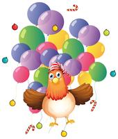 Chicken and colorful balloons