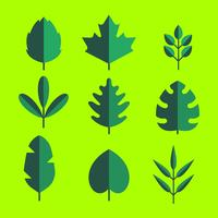 Flat Green Leaves Clipart Set Vector