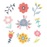 Hand Drawn Flower Clipart Pack vector