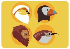 fåglar huvud design set vektor