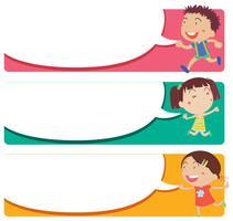 Design de rótulo com crianças e bolhas do discurso
