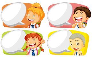 Modèle d'étiquette avec les élèves garçons et filles vecteur
