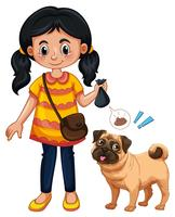 A Girl Cleaning Dog Poop