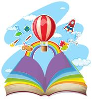 Colorful book with balloon in the sky