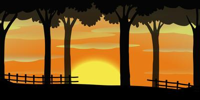 Silhouette scene with sunset in orange sky