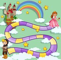 Design de jogo de tabuleiro com cavaleiro e princesa