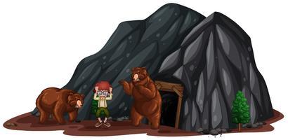 Dos osos asustaron a un niño vector