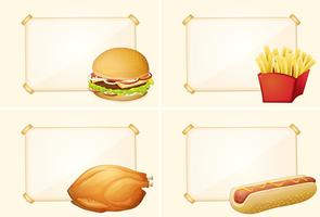 Four border templates with different fastfood meals
