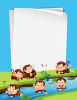 Monkey and blank paper template vector