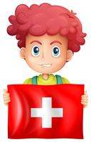 Happy boy and flag of Switzerland