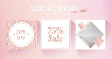 Social media banner template for your blog or business. Cute pastel rose gold pink a modern design. Vector set