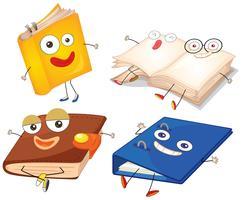 Libros y carpeta con cara feliz.