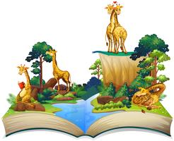 Book of giraffes living by the river