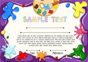 Diploma template with arts theme