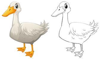 Doodle de animal contorno para pato