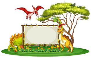 Banner template with many types of dinosaurs