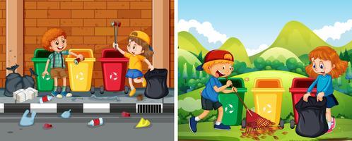 Un conjunto de niños limpiando el área pública