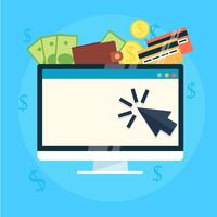 Pay per click banner. Computer with money. Vector flat illustration