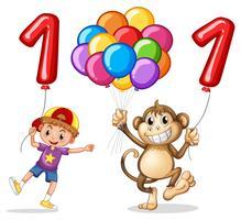 Jongen en aap met ballon voor nummer één
