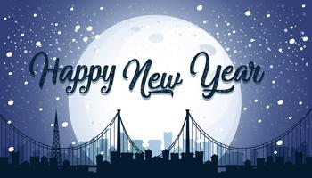 Happy New year city background vector