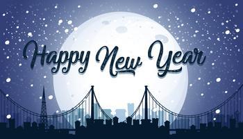 Fundo de cidade feliz ano novo